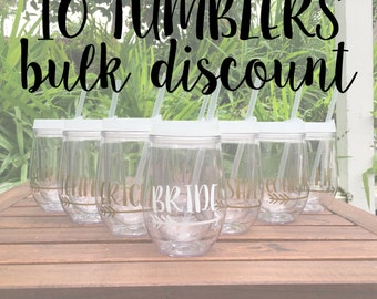 10 Tumblers BULK DISCOUNT: Personalized Wine Tumblers, Beach Theme Tumblers, Bachelorette Party Cups, Stemless Wine Cup, Bev2Go
