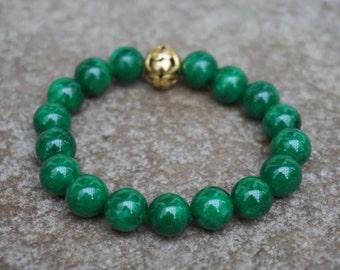 Green Beaded Bracelet, Bohemian Bracelet, Green Jade Bracelet, Stretch Bracelet, Boho Gift for Her, Boho Beaded Bracelet, Hippie Jewelry