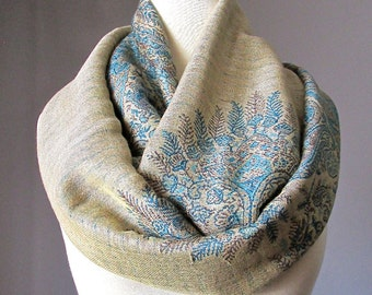 Beige and Teal Blue scarf, pashmina, infinity scarf, fern scarf, perfect fall scarf, Christmas gift