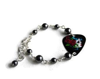 Day of the Dead Bracelet - guitar pick bracelet - Dia de los muertos - Plectrum Bracelet -  Gothic Jewellery - Skull Jewellery - Teen Gifts