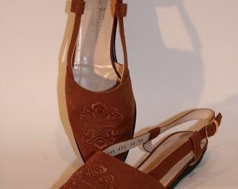 Vintage Suede Sling Back Shoe
