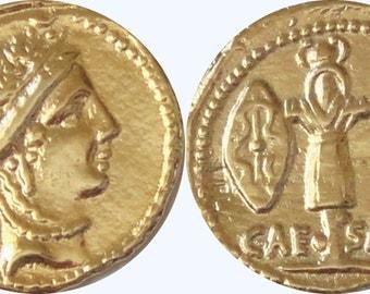 Roman Empire, Aureus, Julius CAESAR and VENUS, 24K Gold Plate (29-G)