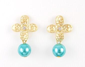 Turquoise Pearl Drop Earrings, Gold Flower Earrings, Blue Bead and Clear Rhinestone Stud Earrings Aqua Pearl Dangle Jewelry |EB1-15