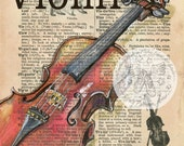 PRINT:  Violin Mixed Media Drawing on Antique Dictionary