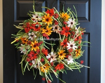 fall wreath fall wreaths autumn wreaths for front door wreaths outdoor decor handmade orange fall wreaths
