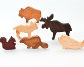 Wooden Canadian Animals Set: 6 Waldorf-Inspired Wooden Toys