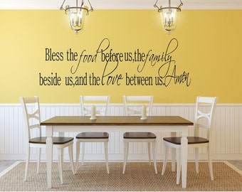 Bless the food...,family...,and love...Amen Vinyl Wall Words Lettering Decal-Kitchen Dining Room Home Wall Decor