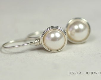 White Pearl Earrings Wire Wrapped Jewelry Sterling Silver Earrings Bridal Pearl Earrings Bridal Pearl Jewelry Rose Gold Earrings