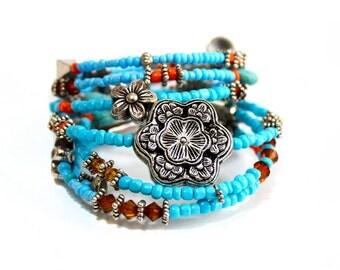 Bright Beaded Wire Bracelet, Boho Ethnic Bracelet Bangle, Blue Orange, Stacked Layered Bracelet, Neon, Charm Beaded Layered Bracelet