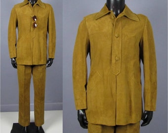 Vintage Suit -- 1960s/1970s Men's Custom Made Golden Caramel Suede 2 Piece Suit -- Trousers and Top -- Size 38 39