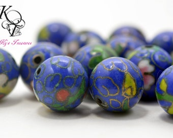 Vintage Cloisonne Beads, Ceramic Blue Beads, Floral Beads, Flower Beads, Chinese, Asian, Oriental, 10mm 6 Pieces, Vintage Beads