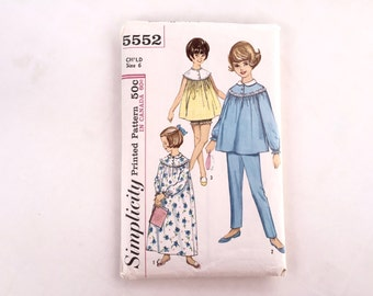 60's Simplicity 5552 Pattern - Child's Girls' Nightgown or Pajamas in Two Lengths // Child Size 6