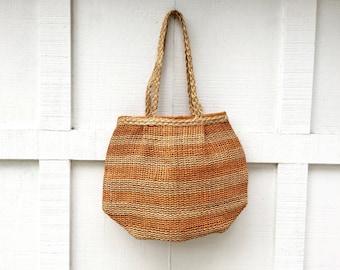Vintage Folk Sisal Woven Jute Bucket Bag Purse Handmade in the Philippines