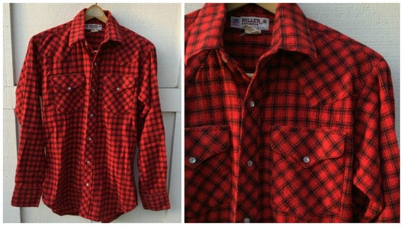 Vintage miller stockman red plaid flannel western pearl snap for Athletic cut flannel shirts