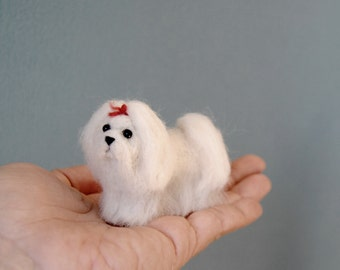 Miniature Maltese, Little Dollhouse Puppy, Felt Dog, Needle Felted Maltese - Made to Order