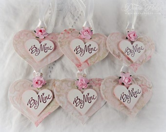 Valentine's Day Gift Tags, Valentine Tags, Be Mine Tags, Heart Tags, Shabby Chic Tags, Party Favor Tags - Set of 6