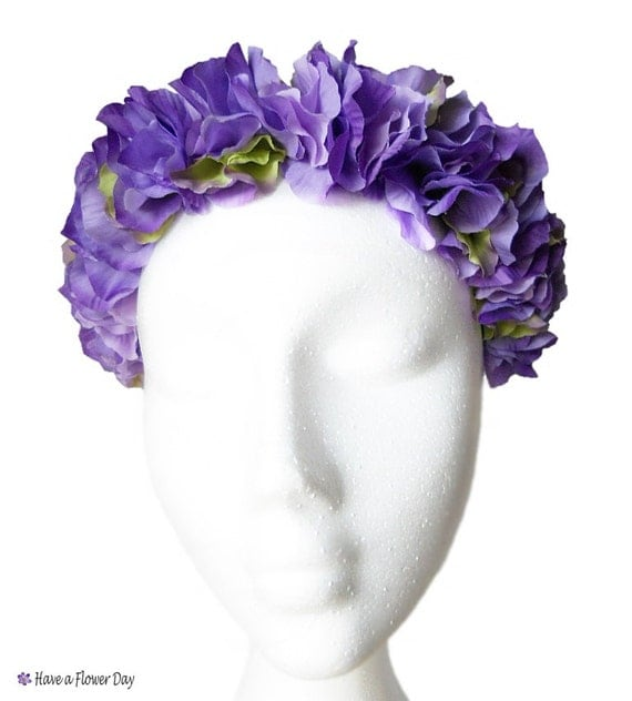 Flower Crown Purple: Purple Flower Crown. Bridal Flower Headband. By HaveaFlowerDay