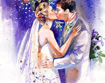 Wedding, 1st Anniversary, Personalized Gifts: Custom Portrait Watercolor Painting by Kristin Glaze van Lieshout