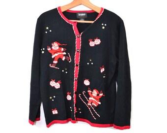 Christmas Sweater Christmas Cardigan Sweater Christmas Cardigan Santa Claus Sweater Santa Sweater Ugly Christmas Sweater