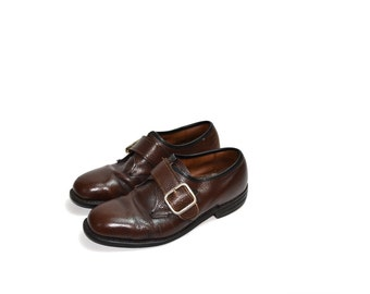 Oxford Shoes Brown Oxford Shoes Mens Brown Oxfords Single Buckle Dress Shoes Oxfords Brogues Size 6