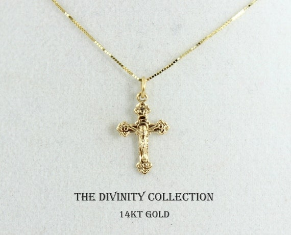 Solid 14kt Gold Crucifix Cross Necklace Women Girls Small