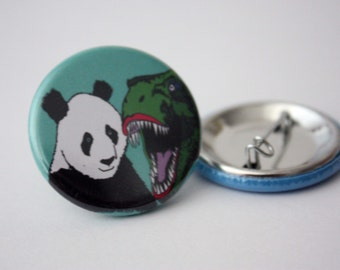 Dinosaur panda badge jurassic park badge funny badge fun badge panda button badge dinosaur button badge
