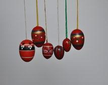 Red Vintage German Easter Egg Ornaments. Vintage German. Authentic. Original. R-5