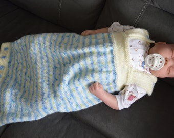 Baby Cocoon, Sleep Sac, Baby Bunting for a 0-3 month Baby in Blue and Cream. Ready to Ship now