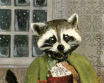 Unique Raccoon Card | Hot Cocoa Greeting Card | Hot Chocolate | Weird Raccoon in Clothing Art | Dressed up Raccoon | Retro Animal | Dapper