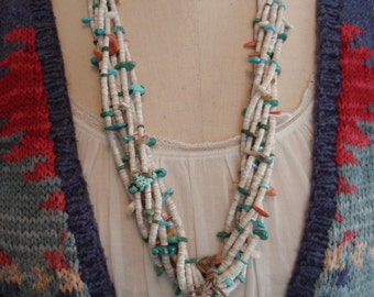 Old Navajo 7 Strand Heishi & Coral Necklace with Turquoise Jaclas