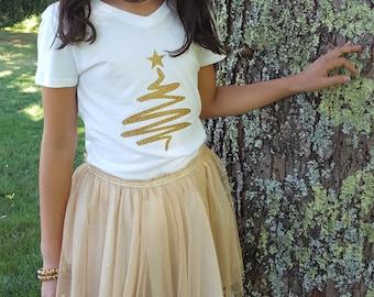 kids Christmas tree shirt, kids Christmas shirt, glitter Christmas tree , Christmas gift, kids clothing, children clothing
