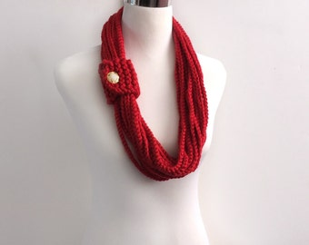 Red color hand crochet chain Infinity scarf - gift or for you