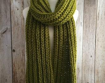oversize soft Chunky Lemongrass knitted long scarf