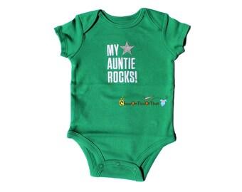 Embroidered Green My Auntie Rocks Short Sleeve Onesie, Baby Boy Bodysuit, Newborn Statement Shirt, Baby Shower Gift, New Mom