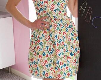 1950's Style Alphabet Dress,  Rockabilly Dress, Vintage Clothing, Vintage Dress, Retro Clothing, Retro Print, 50s dress, Teacher Gifts