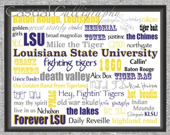 LSU print - gift for dad, boss, husband, college football fan - Christmas - Father's Day - Baton Rouge - Louisiana State University - Tigers