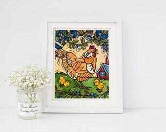 Chicken Art Print, Hen and Baby Chicks Kitchen Decor, 8x10 Original Artwork, Family Art, Baby Chicks Kids Room Home Decor