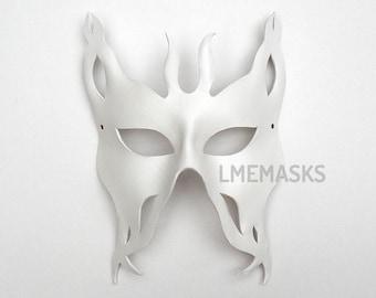 Leather Mask White Unisex Female Male Bug Men Woman Man Masculine Halloween Masquerade Bachelor Carnival Mardi gras Bridal Weddings Theater