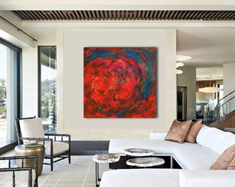 Abstract Resin Painting Free US shipping Original Contemporary Resin Art on XLG Canvas, extra large wall art, modern home decor