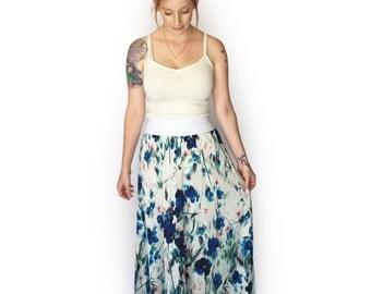 SALE, Floral maxi skirt, Summer skirt, White Maxi Skirt, Autumn skirt, Pregnancy skirt, Boho skirt, Long Skirt, Sateen skirt, Casual m