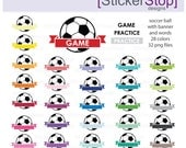Soccer Game and Practice Reminder Clipart 28 colors, PNG Digital Clipart - Instant download - sports, soccer ball, football, practice