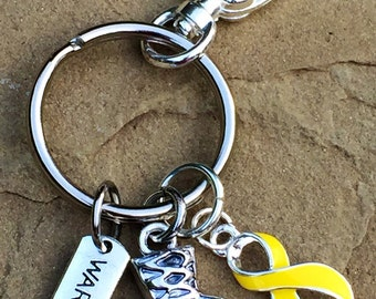 Yellow Ribbon Keychain / Boxing Glove Warrior / Bladder Bone Liver Cancer Survivor / Endometriosis / Osteosarcoma / Spina Bifida