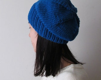 Cobalt Blue Slouchy Hat, Blue Knit Chunky Slouch Hat, Women Knit Hat, Wool Blend Seamless Winter Hat, Mens Slouchy Beanie, Made to Order