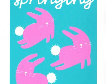 Pink spring bunnies with turquoise screen print