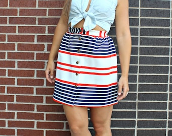 Vintage 1960s Americana Red White and Blue Striped Mod Polyester Button Down Mini Skirt