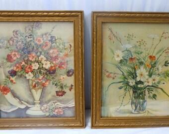 Antique Pair of Framed Floral Bouquet Antique Litho Prints Gold Gesso Decorative Frame