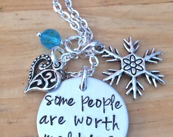 Frozen Olaf Inspired Some People Are Worth Melting For Princess Elsa Inspired Charm Necklace