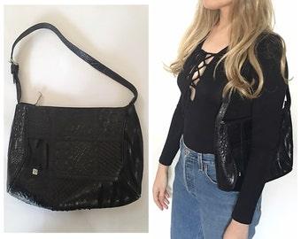 Vintage black leather shoulder bag purse mixed snakeskin leather pattern black purse