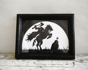 Sleepy Hollow. Headless Horseman Paper Cut Silhouette