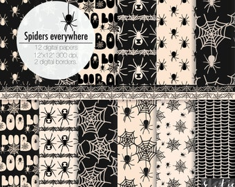SALE Halloween spider web digital paper. Spiders black digital paper for Halloween decorations, scrapbooking, cards, wall art. 12 PNG